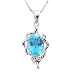 Colier Blue Topaz Natural Lily Argint 9250