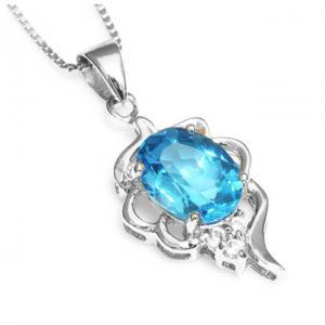 Colier Blue Topaz Natural Lily Argint 9251