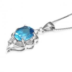 Colier Blue Topaz Natural Lily Argint 9252