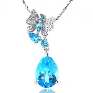 Colier Butterfly Topaz Natural Blue London 4,30 carate0