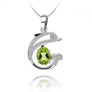 Colier Dolphin Peridot Natural Argint 925 by Borealy0