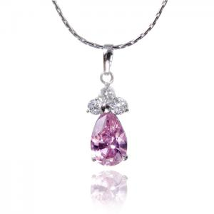 Colier Borealy Simulated Sapphire Drop Pink0