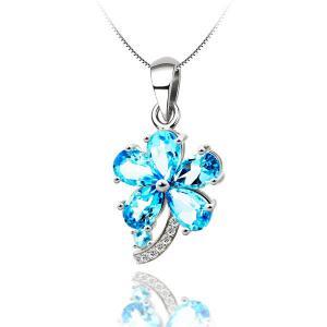 Colier Flower Blue Topaz Borealy Argint 9250