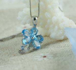 Colier Flower Blue Topaz Borealy Argint 9251