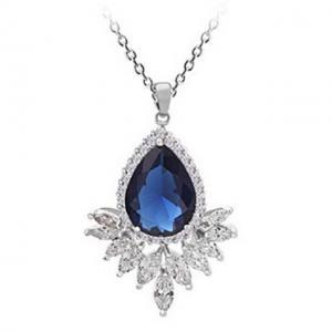 Colier Grammy Safir Pear Diamond Marquise0