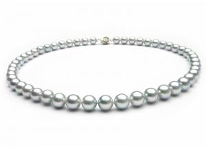 Silver Purple Pearls Necklace0