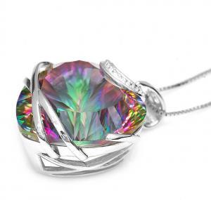 Colier Heart Mistic Topaz Huge 23 carate Argint 9253