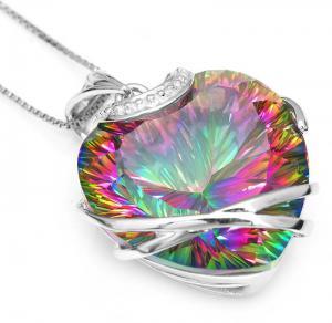 Colier Heart Mistic Topaz Huge 23 carate Argint 9255