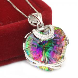Colier Heart Mistic Topaz Huge 23 carate Argint 9252