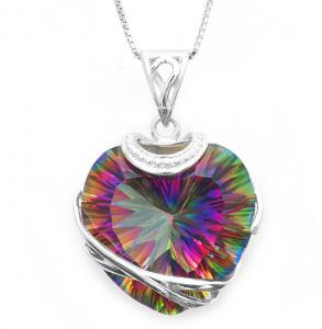 Colier Heart Mistic Topaz Huge 23 carate Argint 9250