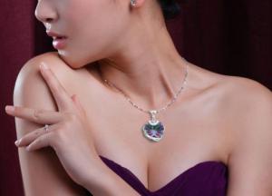Colier Heart Mistic Topaz Huge 23 carate Argint 9254