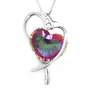 Colier Inima Misterioasa Mistic Topaz 8 carate Argint 9250