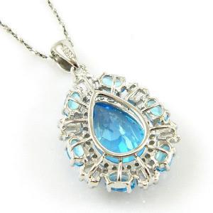 Colier Luxury Blue Topaz 9 carate - pietre pretioase naturale Argint 9254