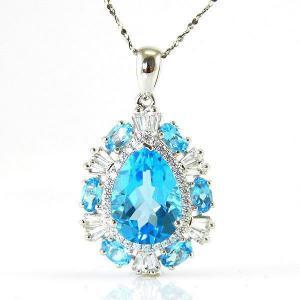 Colier Luxury Blue Topaz 9 carate - pietre pretioase naturale Argint 9250