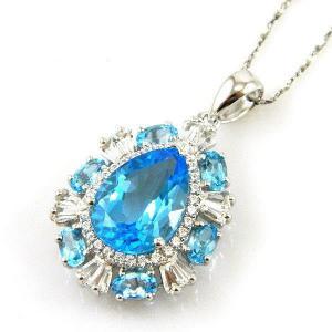 Colier Luxury Blue Topaz 9 carate - pietre pretioase naturale Argint 9251