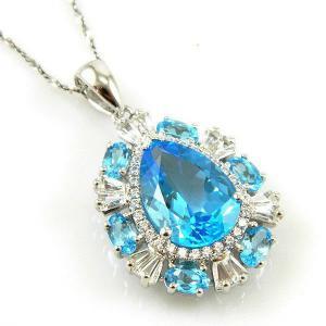 Colier Luxury Blue Topaz 9 carate - pietre pretioase naturale Argint 9253