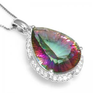 Colier Mistic Fire Topaz Pear 15 carate Argint 9254