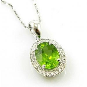 Colier Oval Luxury Peridot 1,70 carate Argint 925 Borealy0