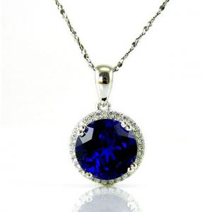 Colier Borealy Argint 925 Safir 5.5 carate Round Luxury3