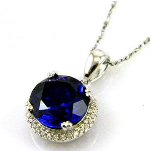 Colier Borealy Argint 925 Safir 5.5 carate Round Luxury2