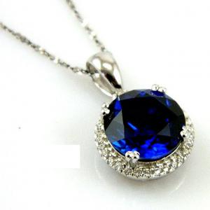 Colier Borealy Argint 925 Safir 5.5 carate Round Luxury1