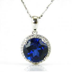 Colier Borealy Argint 925 Safir 5.5 carate Round Luxury0