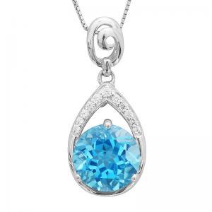 Colier Round Swiss Blue Topaz Natural 7 carate Argint 9250