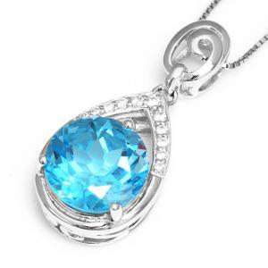 Colier Round Swiss Blue Topaz Natural 7 carate Argint 9252