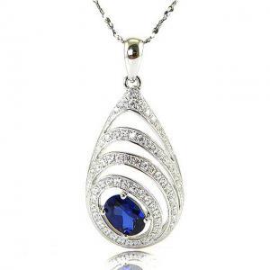 Colier Blue Eva Created Safir - Argint 9250