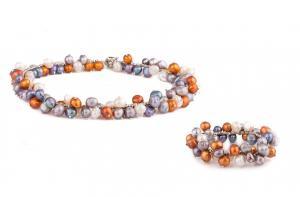 Colier si Bratara Perle Naturale Borealy Colorful