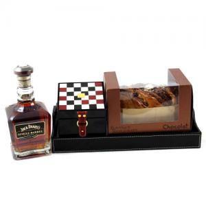 Premium Gift Black Leather Tray0