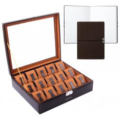 Set Cutie 15 Ceasuri Brown Redford by Friedrich si Note Pad Burgundy Hugo Boss - personalizabil