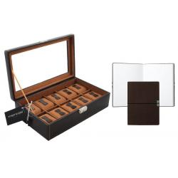 Set Cutie 10 ceasuri Bond Brown by Friedrich si Note Pad Burgundy Hugo Boss - personalizabil