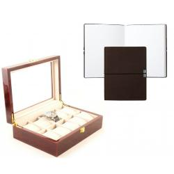 Set cutie 10 ceasuri Red Wood Luxury si Note pad Hugo Boss - personalizabil