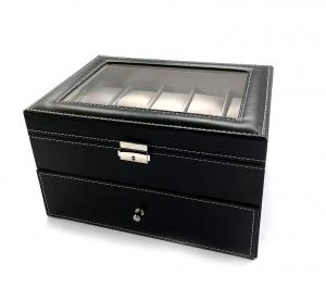 Cutie depozitare ceasuri BLACK LEATHER, 20 de ceasuri