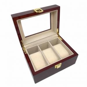 Cutie 3 ceasuri lemn Noble Bordo by Borealy - personalizabil