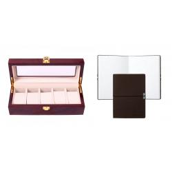 Set cutie 5 Ceasuri din Lemn Borealy Red Wood si Note pad Hugo Boss