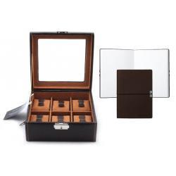 Set Cutie 6 ceasuri Brown Topas by Friedrich si Note Pad Burgundy Hugo Boss - personalizabil0