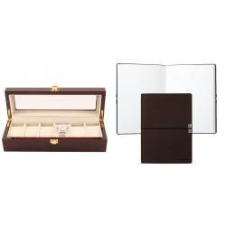 Set cutie 6 Ceasuri Lemn Luxury si Note pad Hugo Boss - personalizabil