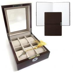 Set Cutie 6 ceasuri lemn Luxury Brown si Note Pad Burgundy Hugo Boss0