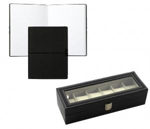 Cutie 6 ceasuri piele capac transparent si Notepad Hugo Boss - personalizabil