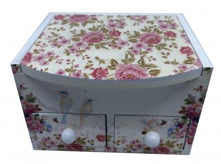 Cutie Bijuterii din Lemn cu 3 Compartimente - Flowers [0]