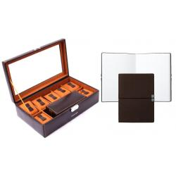 Set Cutie de 7 Ceasuri de Lux Dark Brown & Travel by Friedrich si Note Pad Burgundy Hugo Boss