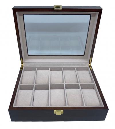 Cutie depozitare 10 ceasuri din lemn Classic Brown [3]