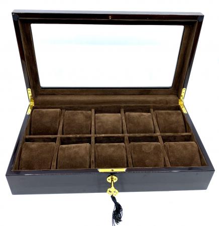 Cutie 10 ceasuri  Luxury Brown din lemn [1]