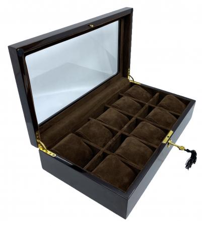 Cutie 10 ceasuri  Luxury Brown din lemn [0]
