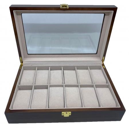 Cutie depozitare 12 ceasuri din lemn Classic Dark Brown3