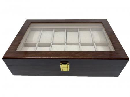 Cutie depozitare 12 ceasuri din lemn Classic Dark Brown0