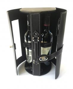 Cutie dubla de Vin de lux din piele0