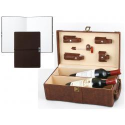 Set Cutie Dubla de Vin din Piele Maro cu Accesorii si Note Burgundy Pad Hugo Boss0